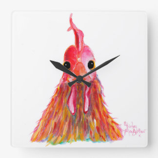 Happy Hen Chicken ' QUEENIE ' by Shirley MacArthur Square Wall Clock