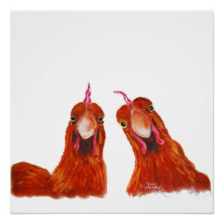 Happy Hens Chicken ' HARRIET & HUMBUG ' Poster