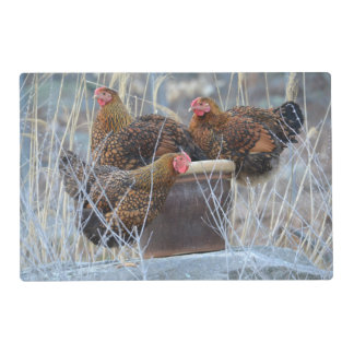 Happy Hens In A Pot Place Mat Laminated Place Mat