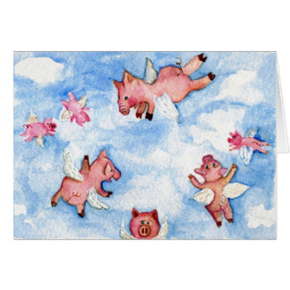 Happy Herd of Flying Pigs Greeting Card
