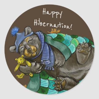 Happy Hibernation Cuddly Bear Stickers