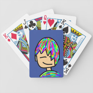 Happy Hippie boy cartoon Bicycle Playing Cards
