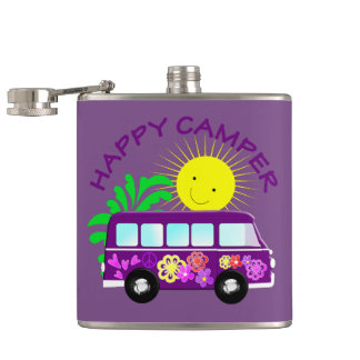 Happy Hippie Camper Van Fun Colorful Graphic Hip Flask