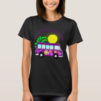 Happy Hippie Camper Van Fun Colorful Graphic T-Shirt