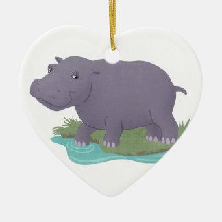 Happy Hippo Ceramic Heart Ornament