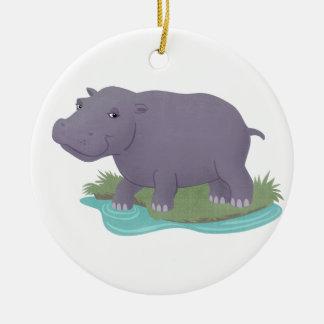 Happy Hippo Ceramic Ornament