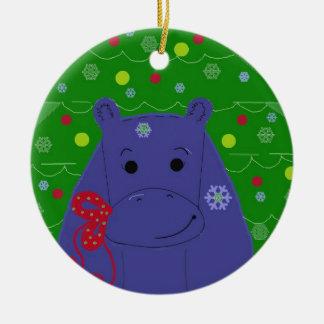 Happy Hippo Christmas Design Ceramic Ornament