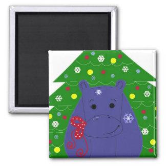 Happy Hippo Christmas Design Magnet