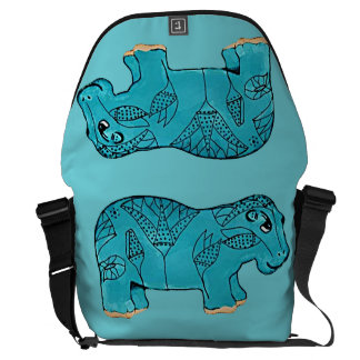Happy Hippo Courier Bag