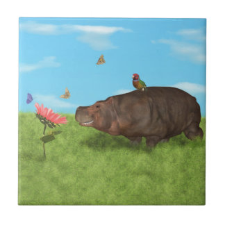 Happy Hippo, Flower, Butterflies Ceramic Tiles