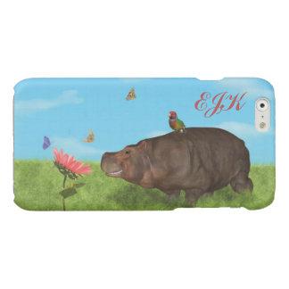 Happy Hippo, Flower, Butterflies, Monogram
