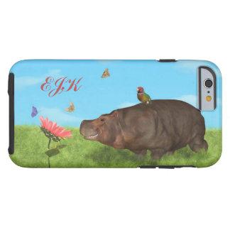 Happy Hippo, Flower, Butterflies, Monogram Tough iPhone 6 Case