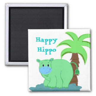 Happy Hippo in the Water Magnet
