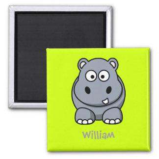 Happy hippo square magnet