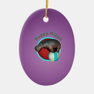 Happy Hippo Tumbler Ceramic Oval Ornament