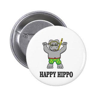happy hippo water 2 inch round button