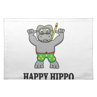 happy hippo water placemat