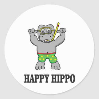 happy hippo water round sticker