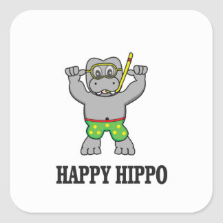happy hippo water square sticker