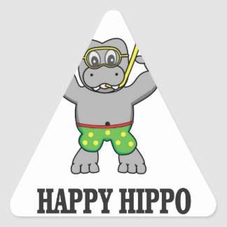 happy hippo water triangle sticker