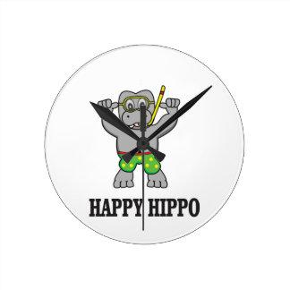 happy hippo water wallclocks
