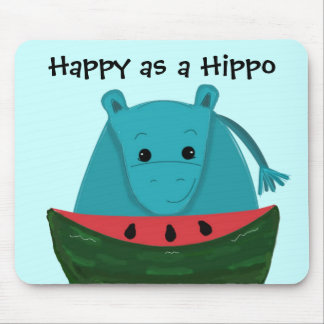 Happy Hippo with Watermelon Slice Mouse Pad