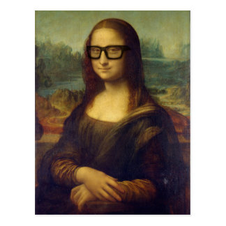 Happy Hipster Mona Lisa in Cool Hipster Glasses Postcard