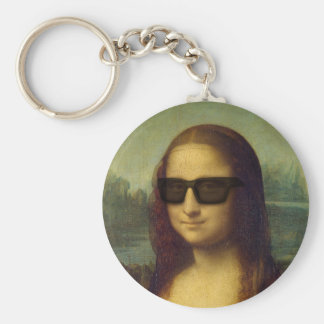 Happy Hipster Mona Lisa Shades Leonardo da Vinci Keychain