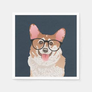 Happy Hipster Pembroke Welsh Corgi Paper Napkin