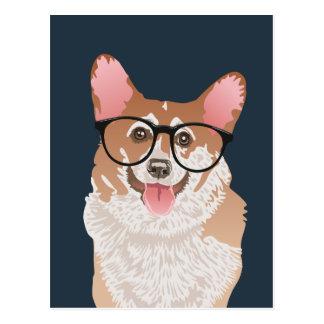 Happy Hipster Pembroke Welsh Corgi Postcard