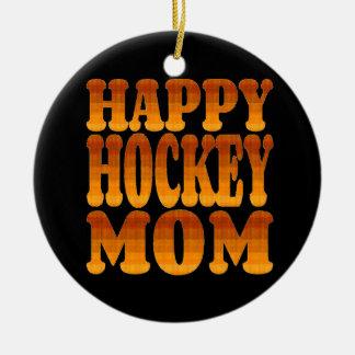 Happy Hockey Mom in Gold Ceramic Ornament