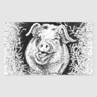 happy hog animal drawing sticker
