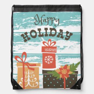 Happy Holiday Christmas Holiday Presents Drawstring Bag