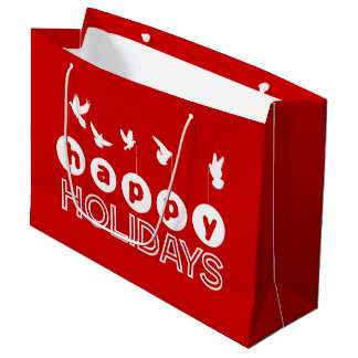 Happy Holiday Doves Christmas Large Gift Bag