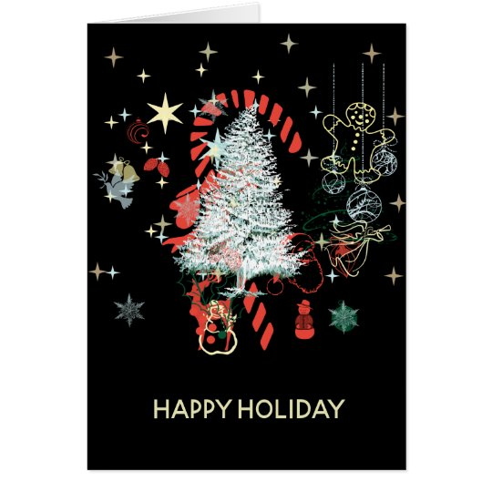 Happy Holiday Everything Christmas Red Green White Card