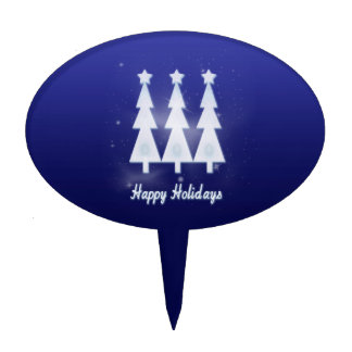 Happy Holiday Ice Christmas Trees Cake Toppers