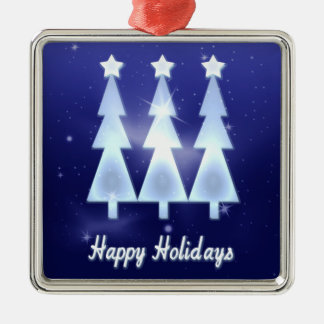 Happy Holiday Ice Christmas Trees Silver-Colored Square Ornament