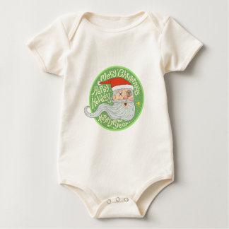 Happy Holiday Merry Christmas New Year Santa Claus Baby Bodysuit