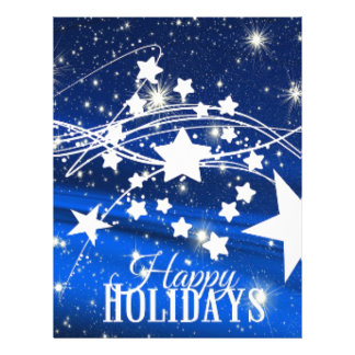 Happy holiday Merry Christmas stars blue Letterhead