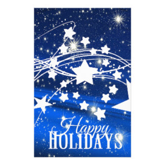 Happy holiday Merry Christmas stars blue Stationery