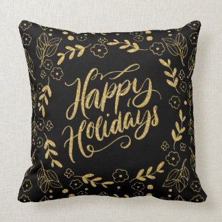 Happy Holiday Modern Typography Gold Leafs Frame Throw Pillow