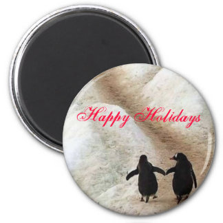 Happy Holiday Penguins 2 Inch Round Magnet