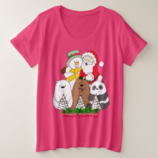 Happy Holiday Pink Women's Plus-Size Basic T-Shirt
