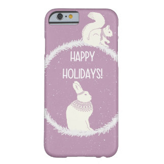 Happy holiday rabbit, squirrel Christmas Xmas Barely There iPhone 6 Case