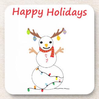 Happy Holiday Snowman Beverage Coaster