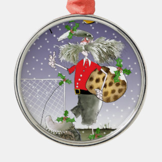 happy holiday soccer fans metal ornament