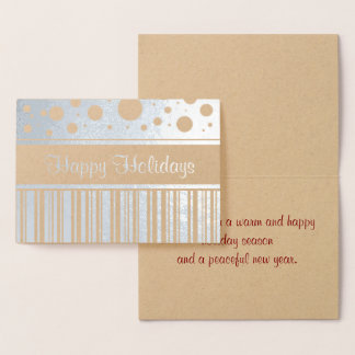 Happy Holiday Stripes and Polka Dots Foil Card