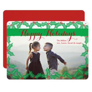 Happy Holiday Traditional Holly Photo Card