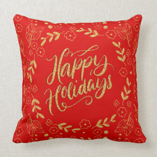 Happy Holiday Typography Gold Glitter Leafs Frame Throw Pillow