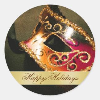 Happy Holiday Vintage Masquerade Envelope Sticker